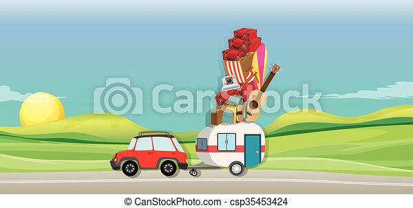 Car and wagon full of luggages on the road - csp35453424