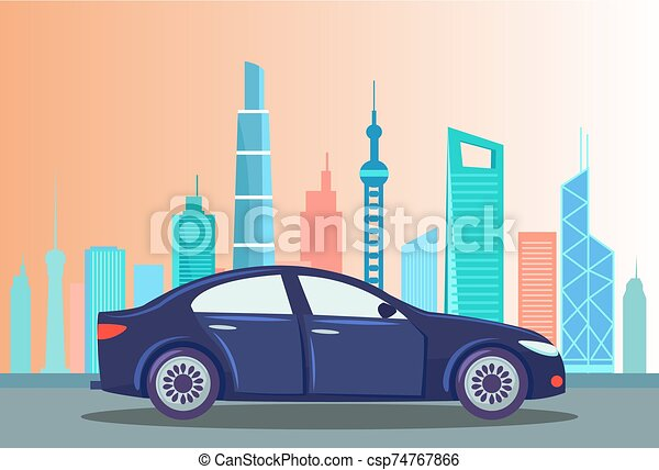 Car at Street of City, Cityscape with Buildings - csp74767866