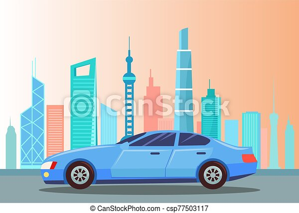 Car at Street of City, Cityscape with Buildings - csp77503117