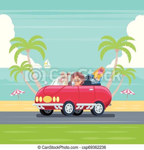 Car at the summer beach - csp69362236