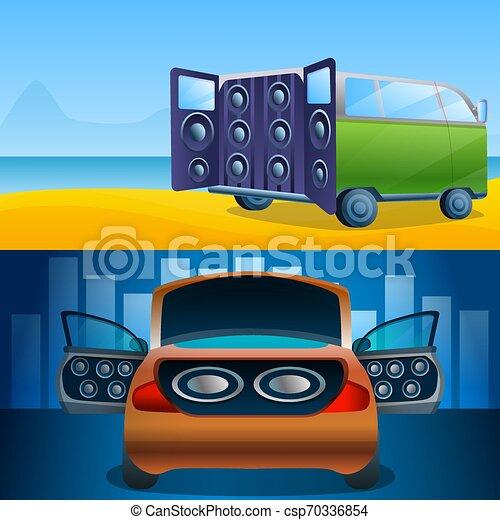 Car audio banner set, cartoon style - csp70336854
