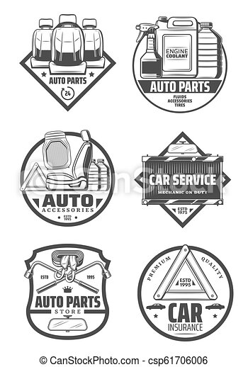 Car Auto Parts And Service Vector Icons Car Service Store And