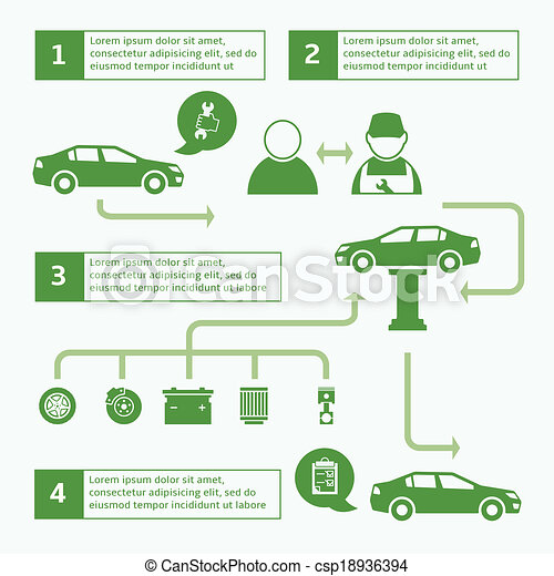 Car auto service brochure infographics layout template design with ...