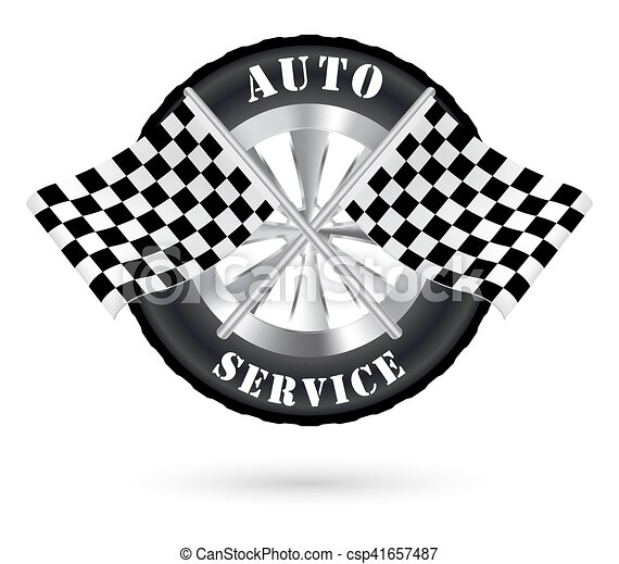 Car Auto Service Logo With Racing Flag