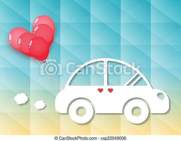 car, balões, coração vermelho - csp22049006