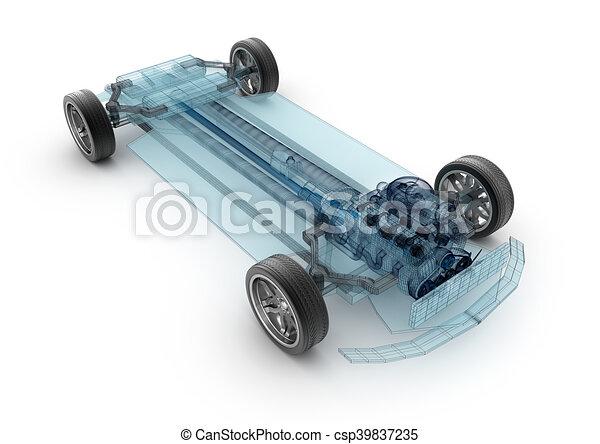 Car base design wire model 3d illustration my own car design