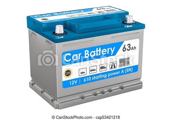 Car Battery closeup, 3D rendering - csp53421218