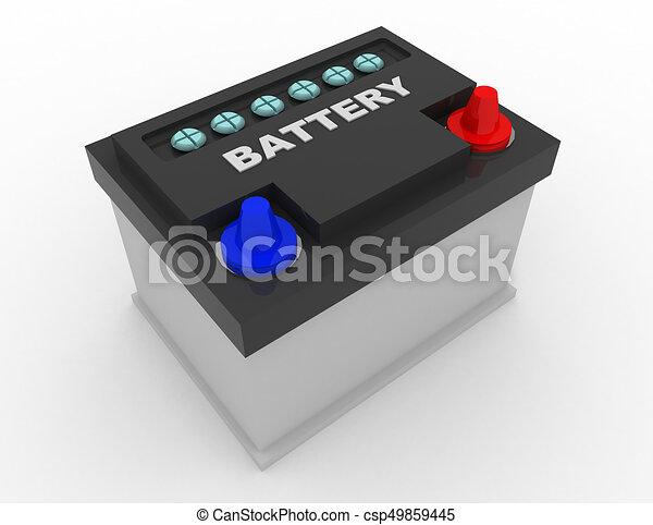car battery concept . 3d rendred illustration - csp49859445