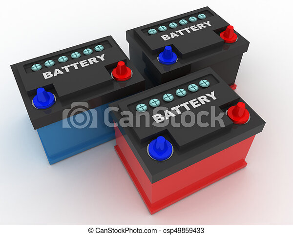 car battery concept . 3d rendred illustration - csp49859433