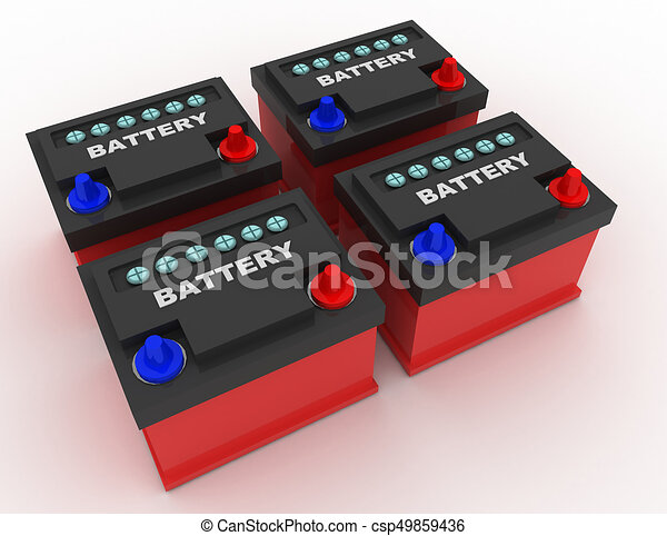 car battery concept . 3d rendred illustration - csp49859436