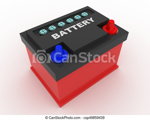 car battery concept . 3d rendred illustration - csp49859439