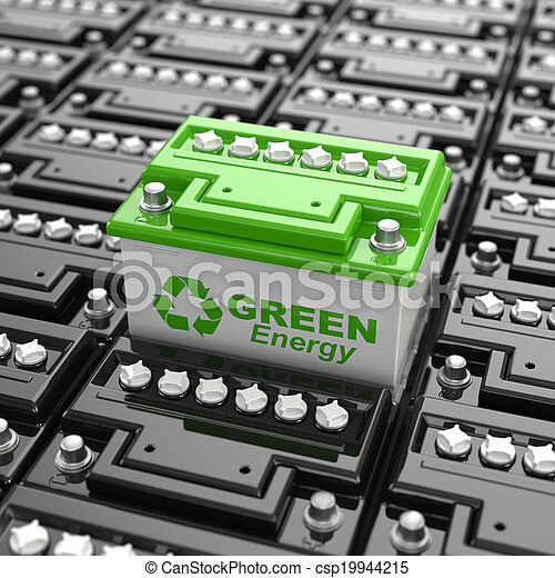 Car battery recycling. Green energy. Background from accumulators. 3d - csp19944215