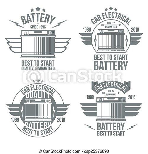Car battery shop  emblems - csp25376890