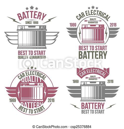 Car battery shop  emblems - csp25376884