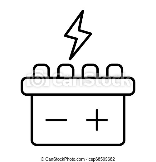 Car battery thin line icon. Accumulator vector illustration isolated on white. Electricity outline style design, designed for web and app. Eps 10. - csp68503682