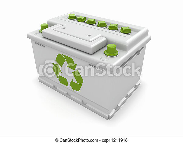 Car battery with green recycle sign. - csp11211918