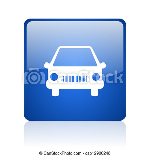 car blue square glossy web icon on white background - csp12900248