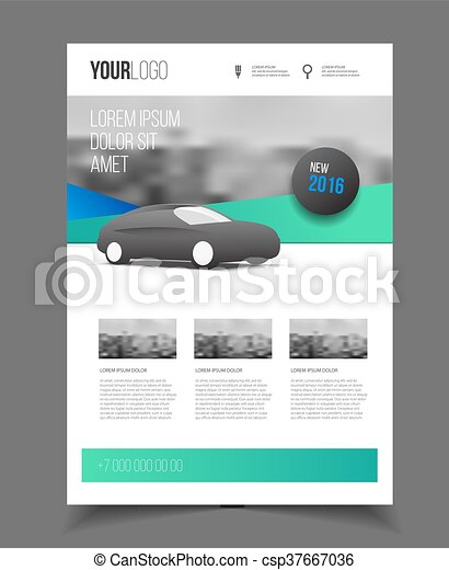 Car Brochure. Auto Leaflet Brochure Flyer Template A4 Size Design, Car  Repair Business Catalogue Vector  Car Flyer Template