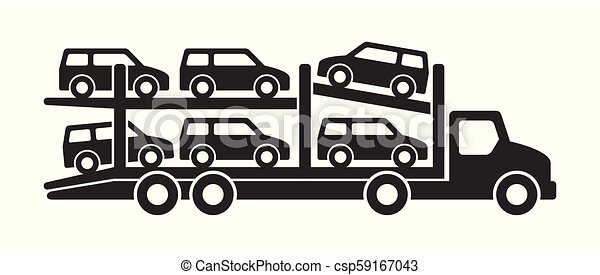 Car carrier truck icon, monochrome style. isolated on ...