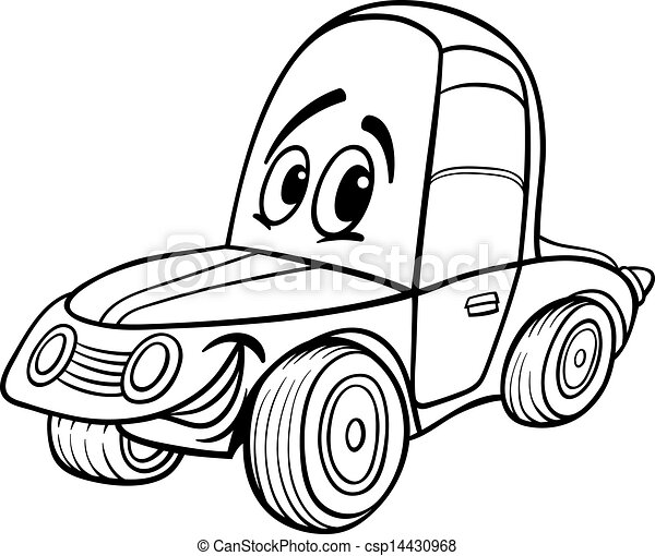 car cartoon illustration for coloring book black and white clip rh canstockphoto com race car clipart black and white car clipart black and white vector