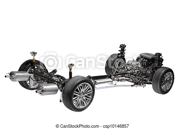 Car chassis with engine. - csp10146857
