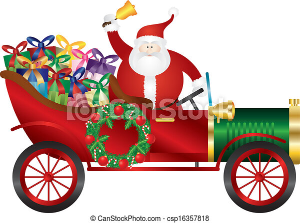 car, claus, ilustração, entregar, presentes, santa, vindima - csp16357818