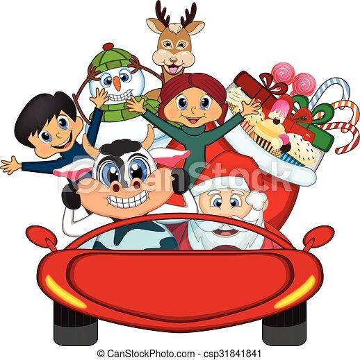 car, claus, santa, dirigindo, vermelho - csp31841841