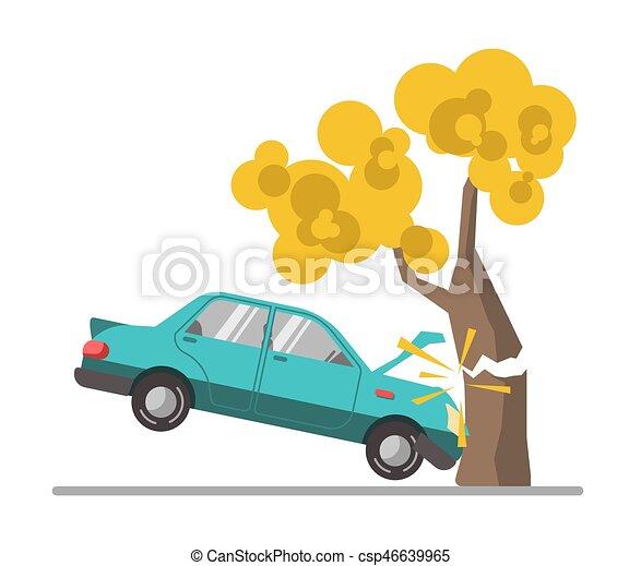 Car crash accident in tree flat vector illustration - csp46639965
