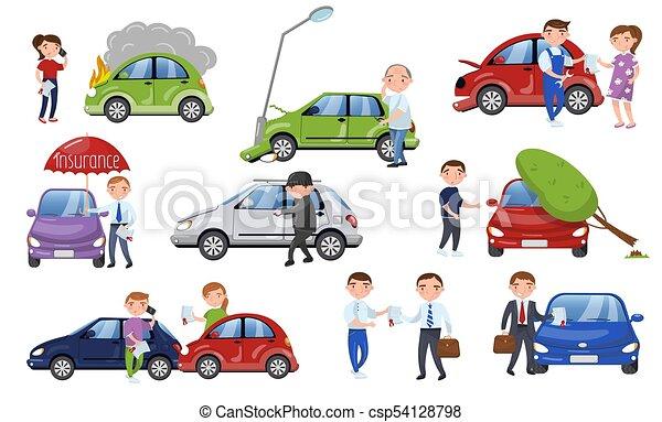 Car crash and accident set, car insurance cartoon vector Illustration - csp54128798