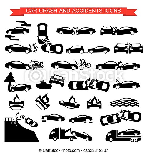 car crash and accidents icons - csp23319307