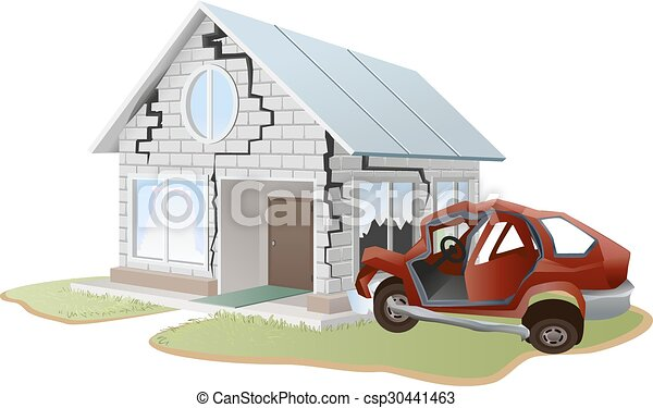 Car crash. car crashed into wall at home. property... clip art ...