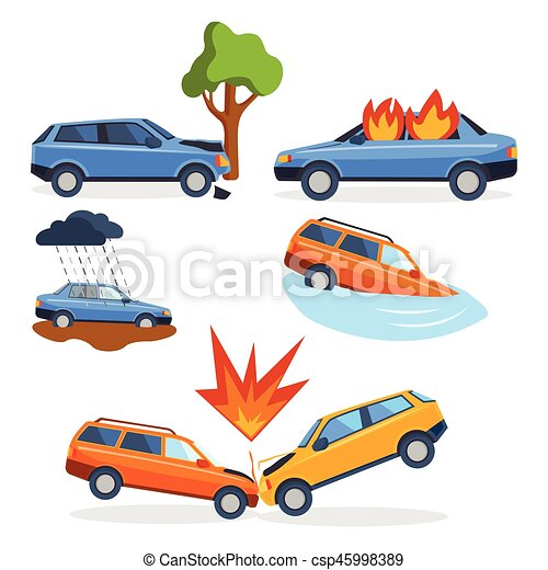 Car crash collision traffic insurance safety automobile emergency disaster and emergency disaster speed repair transport vector illustration. - csp45998389