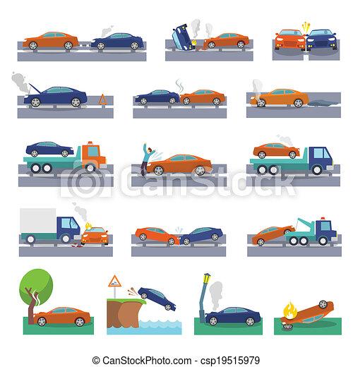 Car crash icons - csp19515979