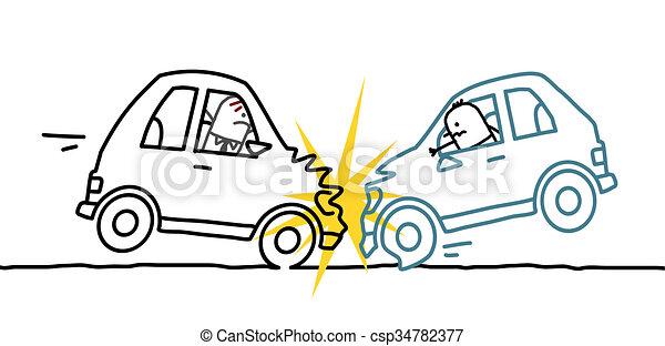 Hand Drawn Cartoon Characters Car Crash