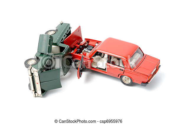Car Crash Toy Cars In Accident On A White Background