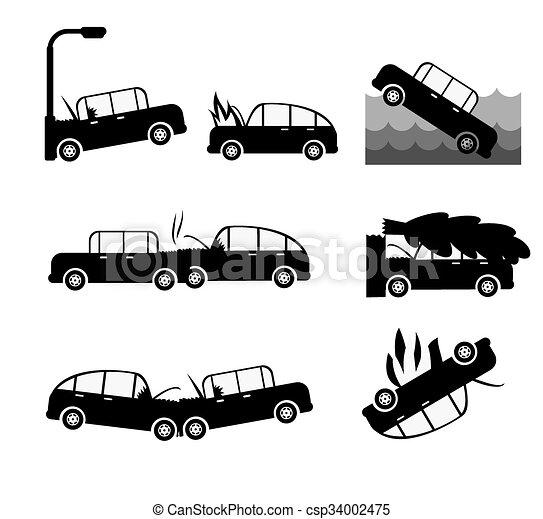Car crash vector set. Insurance cases car crash - csp34002475