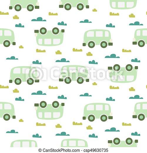 71ebbc6fdcad5 Car cute baby vector green scandinavian seamless pattern.