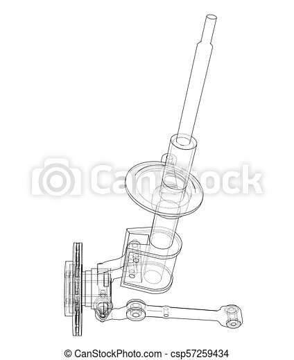 Car Dampers With Brake Disc Outline Vector Rendering Of 3d Wire