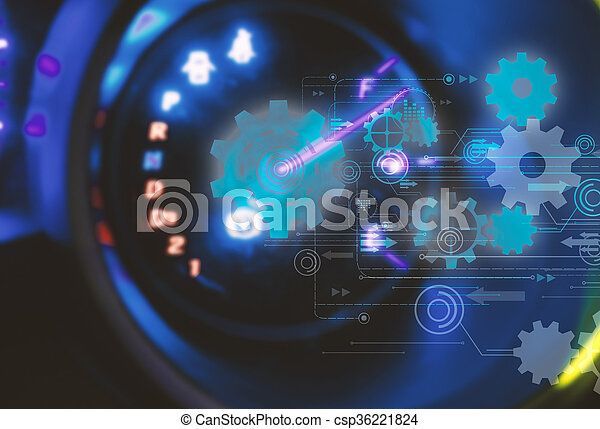 Car Dashboard.futuristic technology background,gear wheel on circuit board - csp36221824