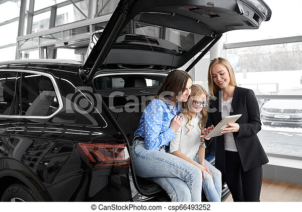 Car dealer working with clients in dealership. - csp66493252