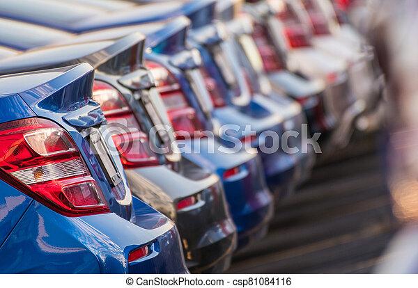 Car Dealership Stock Of Brand New Vehicles. - csp81084116