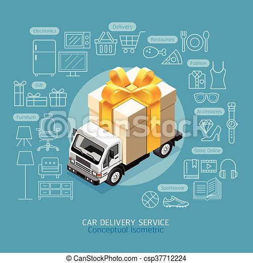 Car Delivery Service Conceptual Isometric Flat Style. Car with Gift Box. Vector Illustration. - csp37712224