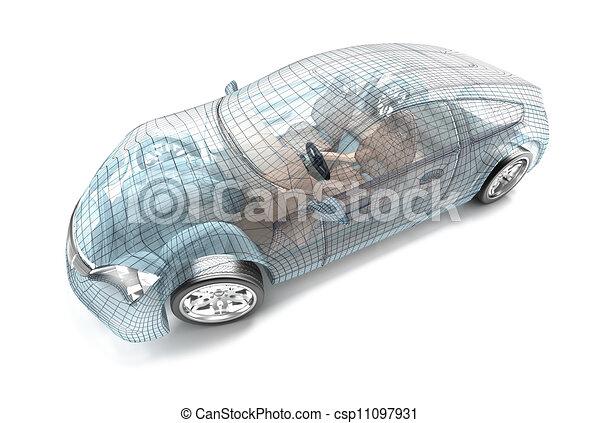 Car design, wire model. My own desi - csp11097931