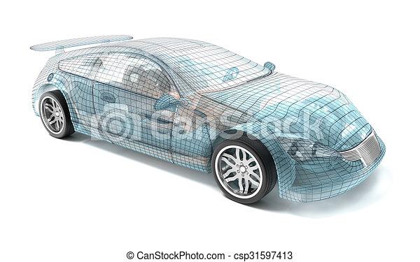 Car design wire model my own design csp31597413
