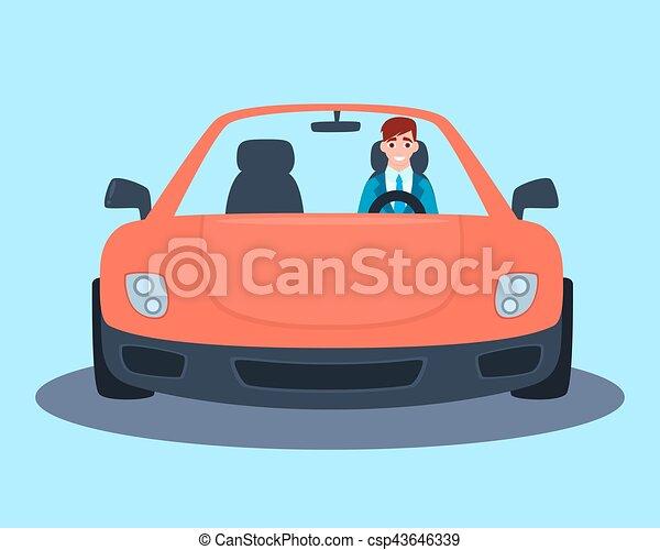 car, desporto, vermelho, homem negócios - csp43646339