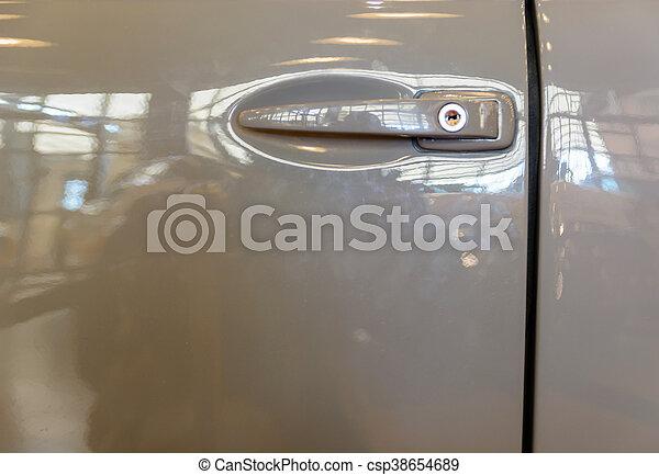 Car door handle old gray lock Old car door handle gray lock