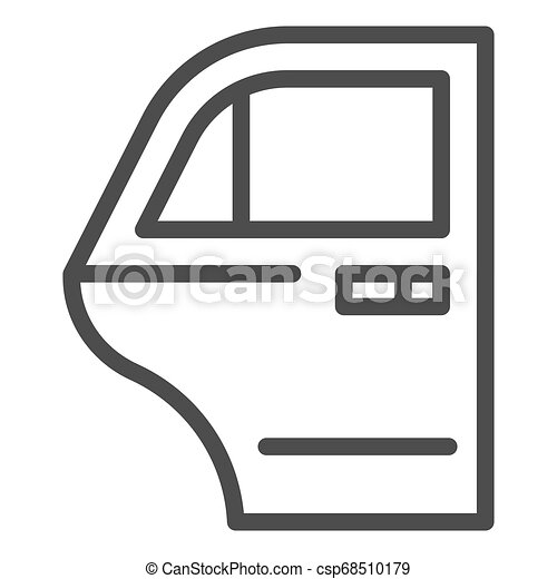 Car door line icon. Car element vector illustration isolated on white. Auto door outline style design, designed for web and app. Eps 10. - csp68510179