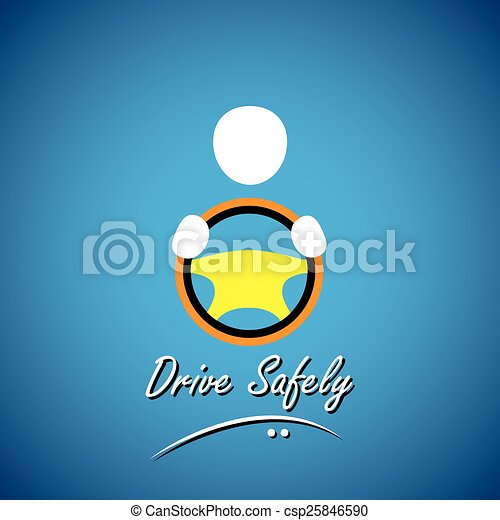 car driver icon or symbol - safe driving concept vector - csp25846590