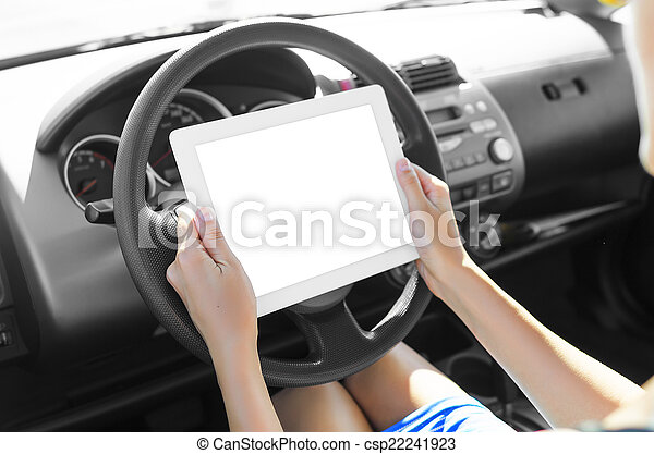 Car driver with tablet pc - csp22241923