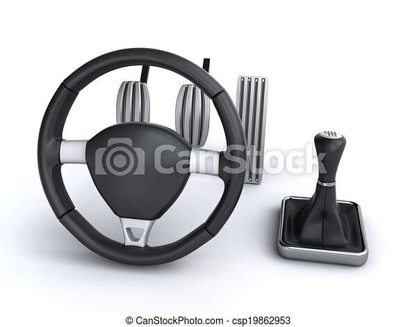 Car Driving Controls Steering Wheel And Gear Stick Along